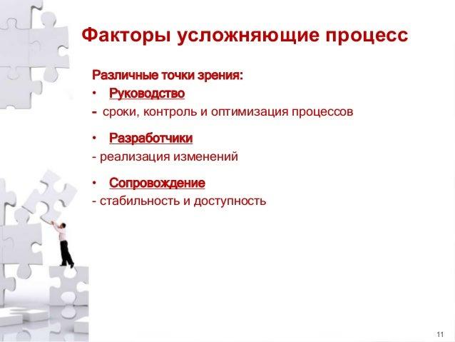 Факторы усложняющие процесс Различные точки зрения: • Руководство - сроки, контроль и оптимизация процессов • Разработчики...