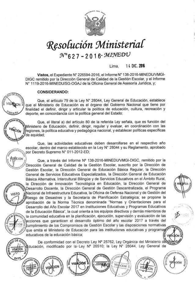 Normas y orientaciones para el desarrollo del año escolar 2017 en las Instituciones Educativas y Programas Educativos de l...