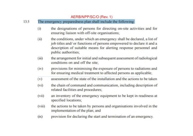 CRITERIA FOR PLANNING, PREPAREDNESS AND RESPONSE FOR NUCLEAR OR RADIOLOGICAL EMERGENCY AERB SAFETY GUIDELINES NO. AERB/NRF...