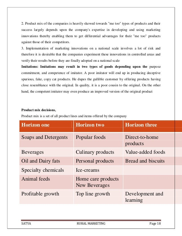 """SATYA RURAL MARKETING Page 182. Product mix of the companies is heavily skewed towards """"me too"""" types of products and thei..."""