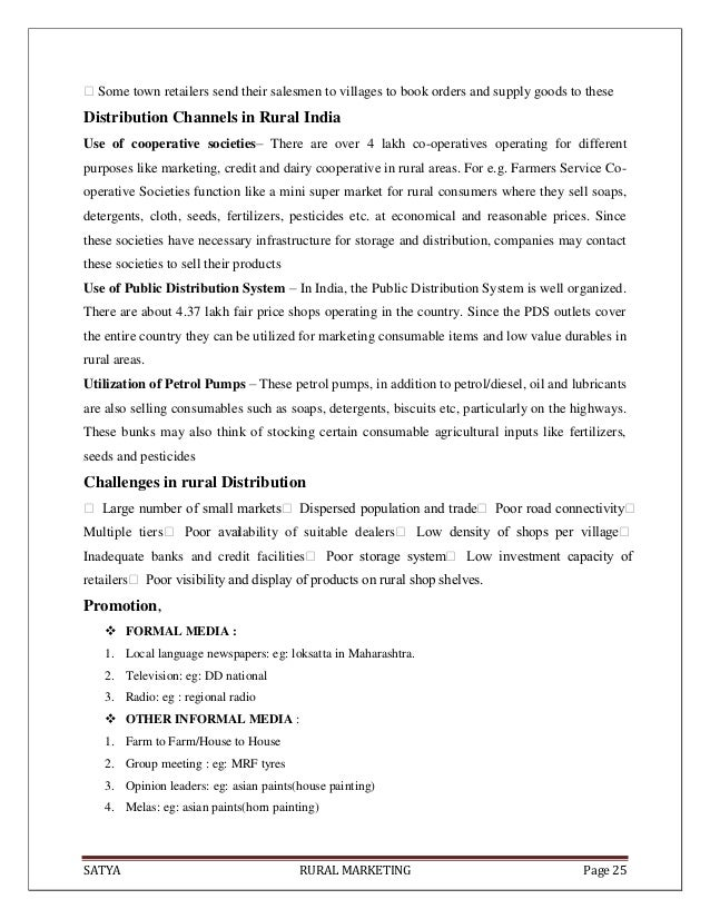 SATYA RURAL MARKETING Page 25Some town retailers send their salesmen to villages to book orders and supply goods to these...