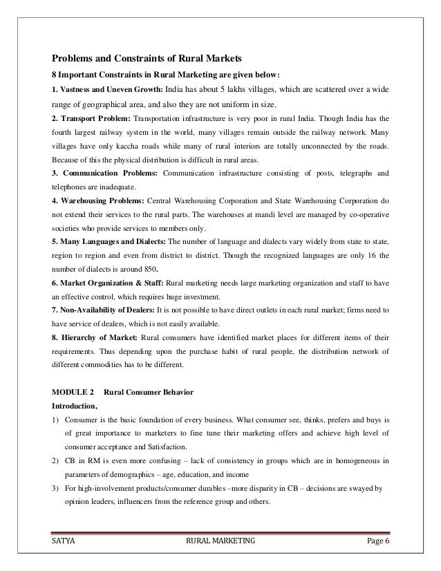 SATYA RURAL MARKETING Page 6Problems and Constraints of Rural Markets8 Important Constraints in Rural Marketing are given ...