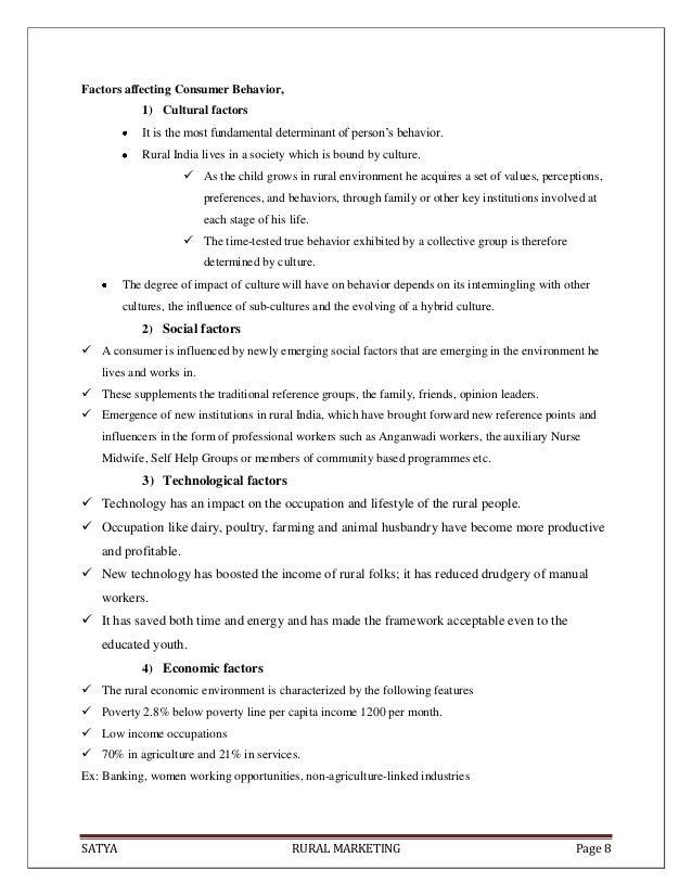 SATYA RURAL MARKETING Page 8Factors affecting Consumer Behavior,1) Cultural factorsIt is the most fundamental determinant ...