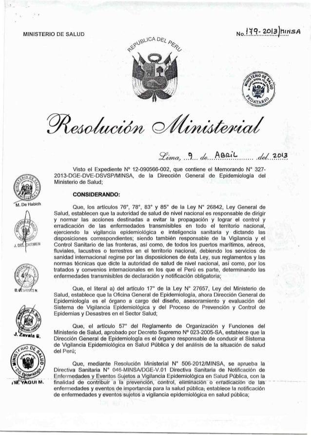 """MINISTERIO DE SALUD        zm,   ¿Wiiléasïk- . ... .. . .   Visto el Expediente N"""" 12-090566-002, que contiene el Memorand..."""