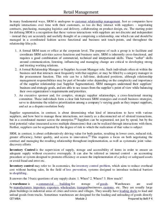 Retail management exam notes