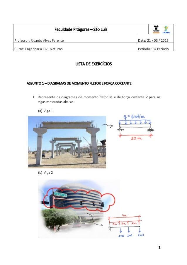 1 LISTA DE EXERCÍCIOS ASSUNTO 1 – DIAGRAMAS DE MOMENTO FLETOR E FORÇA CORTANTE 1. Represente os diagramas de momento fleto...