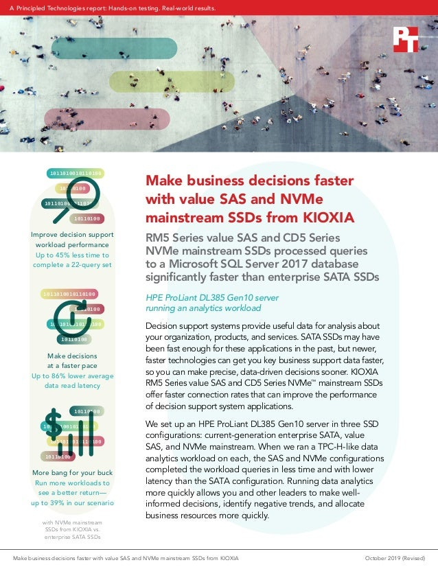 Make business decisions faster with value SAS and NVMe mainstream SSDs from KIOXIA RM5 Series value SAS and CD5 Series NVM...