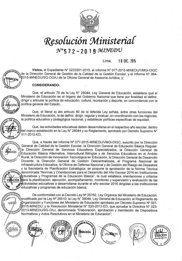 """69,, """" n. """" h» 'r o     Qüzsofución fll/ linistefiaí 9v°5 72 +20 1 594mm"""")  Lima,  18 DIC.  2015  www Vistos,  el Expediente..."""