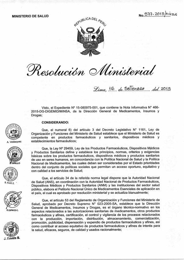 A. Velásquez R. esciuozaC. MINISTERIO DE SALUD   -1C A DE L, x) r& No 5-17- 2o15inlivs4 yt;,,,,t(t, 10 hsaTTá-le, (u2015 V...