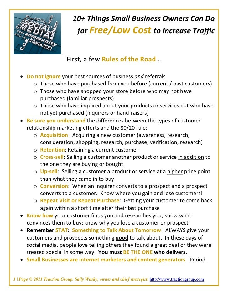 10+ Things Small Business Owners Can Do                                for Free/Low Cost to Increase Traffic              ...