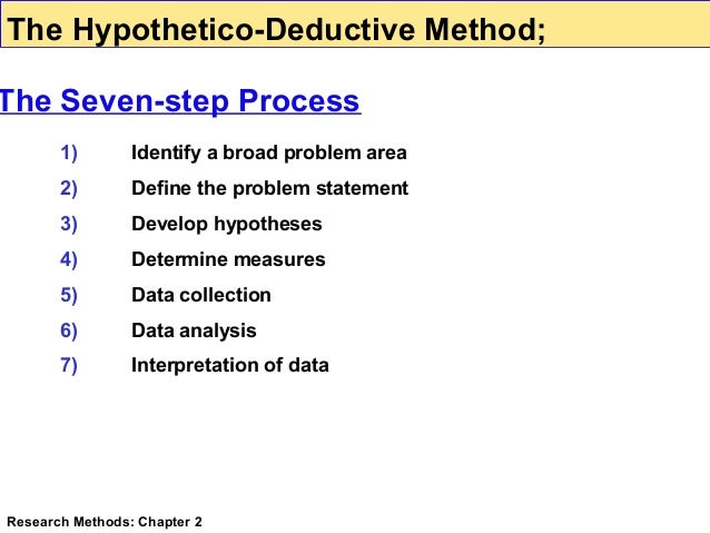 deductive method in research Quick answer deductive research aims to test an existing theory while inductive research aims to generate new theories from observed data deductive research works from the more general to the more specific, and inductive research works from more specific observations to more general theories.