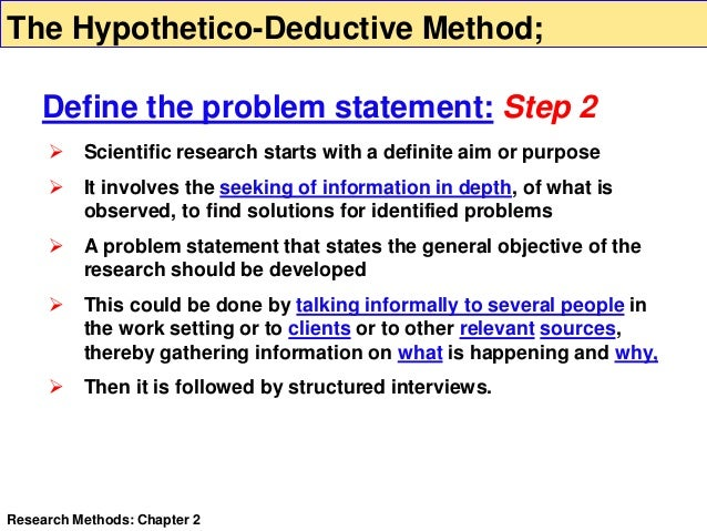 deductive method in research Deductive, inductive, and abductive reasoning three methods of reasoning are the deductive much scientific research is carried out by the inductive method.