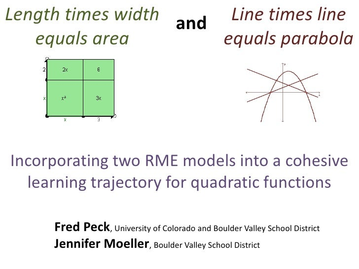 Line times line equals parabola<br />Length times width equals area<br />and<br />Incorporating two RME models into a cohe...