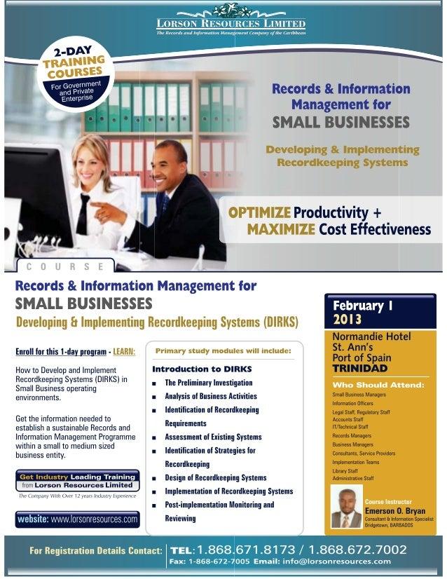 1Records Management for Small BusinessesCOURSE DESCRIPTIONCourse Title: Records Management for Small BusinessesCourseInstr...