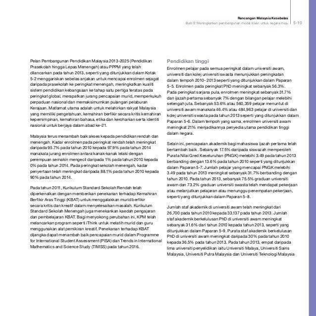 Rancangan Malaysia Kesebelas Bab 5: Meningkatkan pembangunan modal insan untuk negara maju 5-10 Pelan Pembangunan Pendidik...
