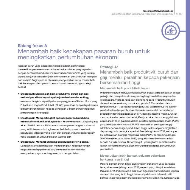 Rancangan Malaysia Kesebelas Bab 5: Meningkatkan pembangunan modal insan untuk negara maju 5-18 Pasaran buruh yang cekap d...