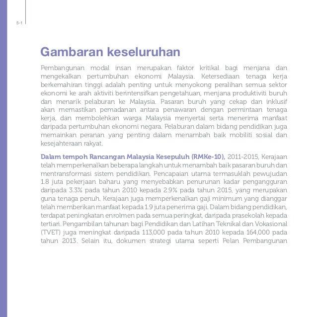 5-1 Pembangunan modal insan merupakan faktor kritikal bagi menjana dan mengekalkan pertumbuhan ekonomi Malaysia. Ketersedi...