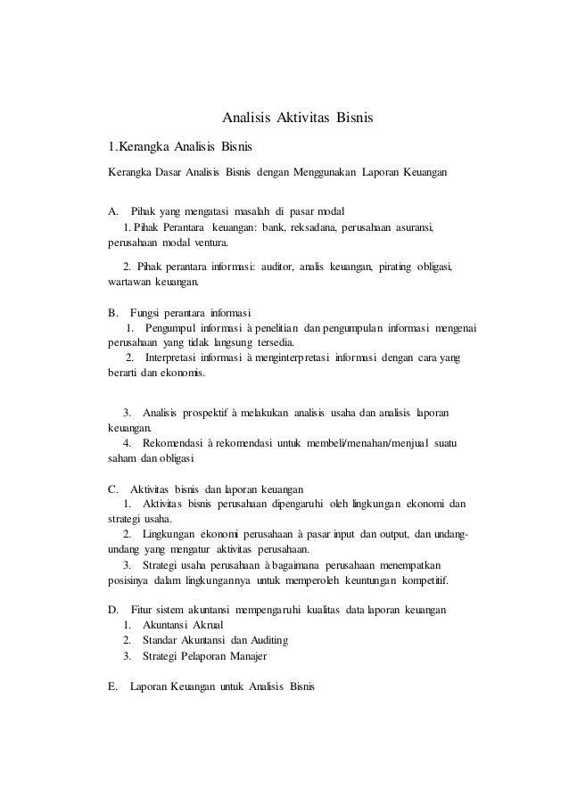 Analisis Aktivitas Bisnis 1.Kerangka Analisis Bisnis Kerangka Dasar Analisis Bisnis dengan Menggunakan Laporan Keuangan A....