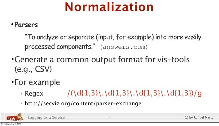 """Normalization           • Parsers                         """"To analyze or separate (input, for example) into more easily   ..."""