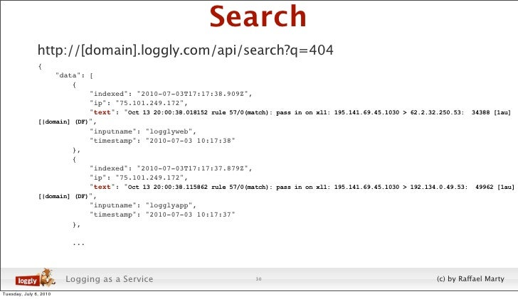"""Search                http://[domain].loggly.com/api/search?q=404                {                     """"data"""": [          ..."""