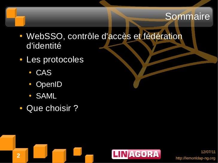 Sommaire●   WebSSO, contrôle daccès et fédération    didentité●   Les protocoles    ●   CAS    ●   OpenID    ●   SAML●   Q...