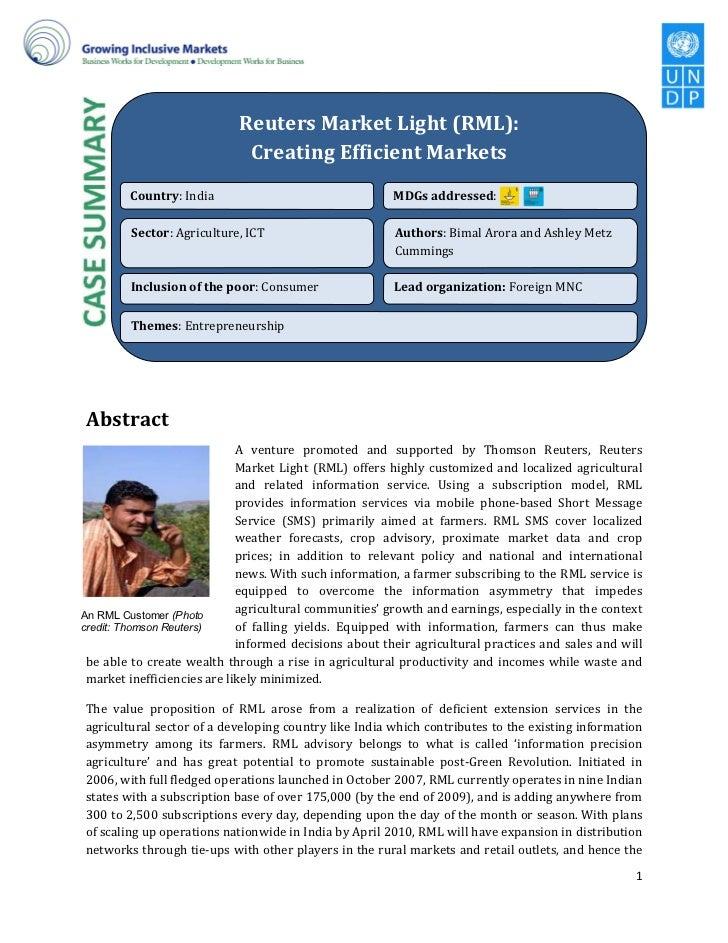 v                           Reuters Market Light (RML):                            Creating Efficient Markets         Coun...