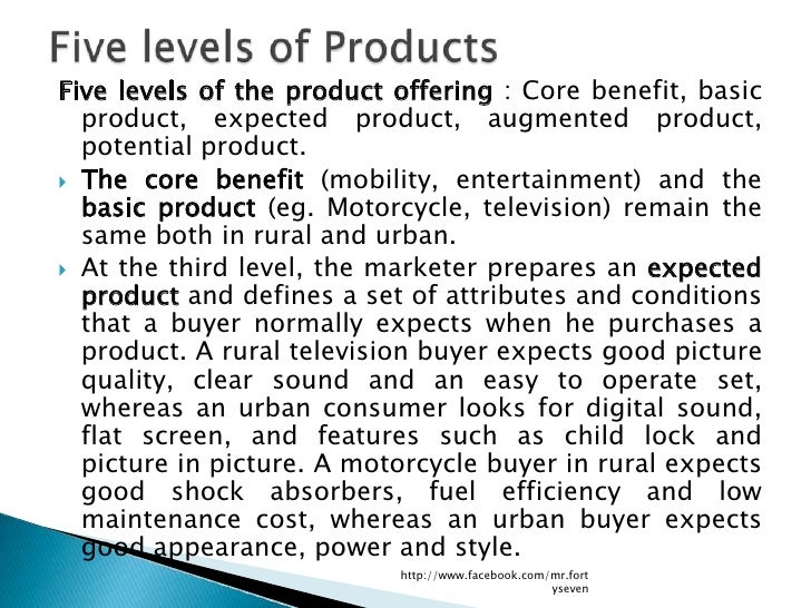 Five levels of the product offering : Core benefit, basic  product, expected product, augmented product,  potential produc...