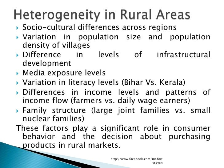  Socio-cultural differences across regions Variation in population size and population  density of villages Difference ...