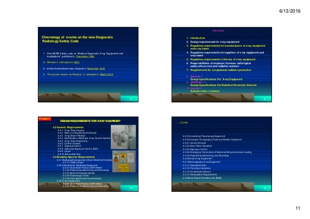 """6/13/2016 11 4141 Chronology of events on the new Diagnostic Radiology Safety Code 1. First AERB Safety code on """"Medical D..."""