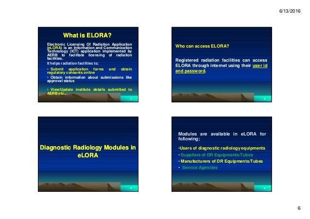 6/13/2016 6 What is ELORA?What is ELORA? Electronic Licensing Of Radiation Application (eLORA) is an Information and Commu...