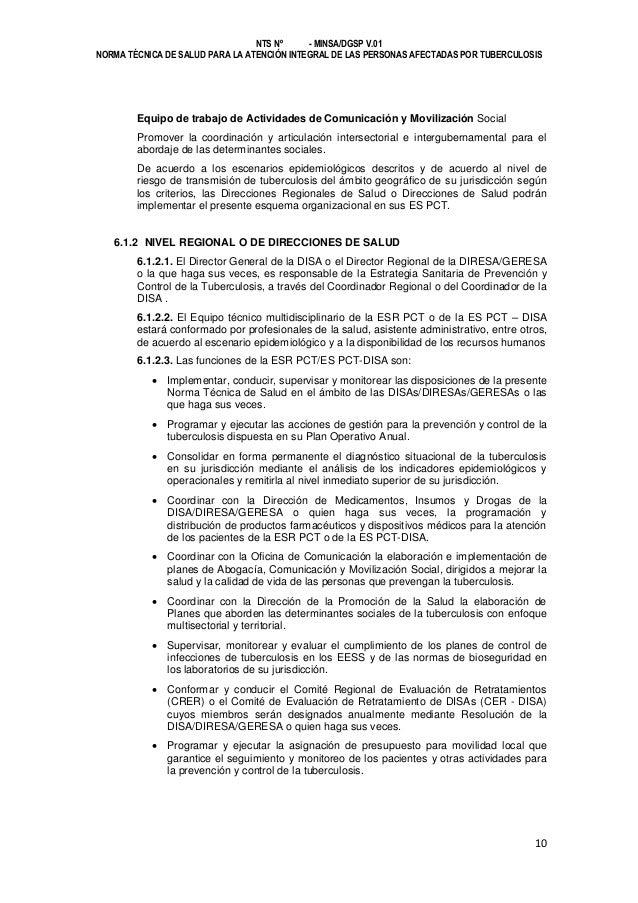NTS Nº - MINSA/DGSP V.01 NORMA TÉCNICA DE SALUD PARA LA ATENCIÓN INTEGRAL DE LAS PERSONAS AFECTADAS POR TUBERCULOSIS  Equi...