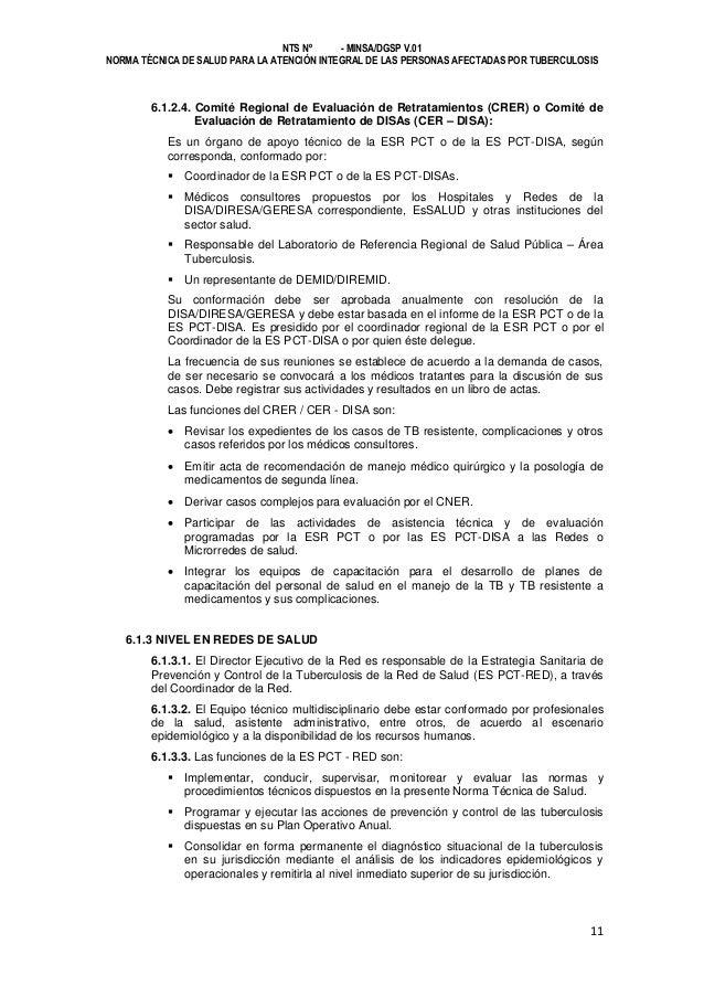 NTS Nº - MINSA/DGSP V.01 NORMA TÉCNICA DE SALUD PARA LA ATENCIÓN INTEGRAL DE LAS PERSONAS AFECTADAS POR TUBERCULOSIS  6.1....