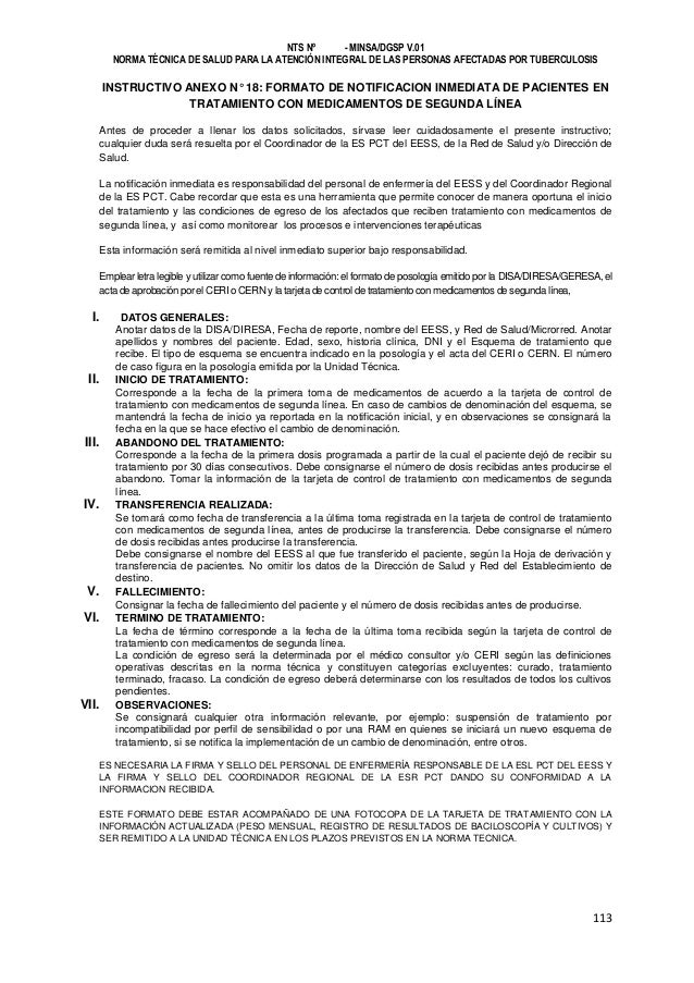Norma Técnica de Salud para la Atención Integral de la Persona Afectada con Tuberculosis en Perú