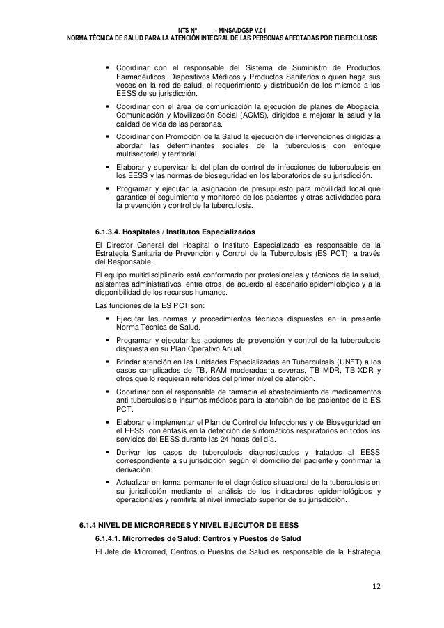 NTS Nº - MINSA/DGSP V.01 NORMA TÉCNICA DE SALUD PARA LA ATENCIÓN INTEGRAL DE LAS PERSONAS AFECTADAS POR TUBERCULOSIS   Co...