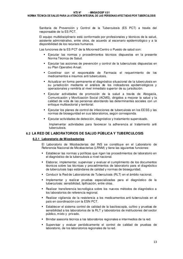 NTS Nº - MINSA/DGSP V.01 NORMA TÉCNICA DE SALUD PARA LA ATENCIÓN INTEGRAL DE LAS PERSONAS AFECTADAS POR TUBERCULOSIS  Sani...