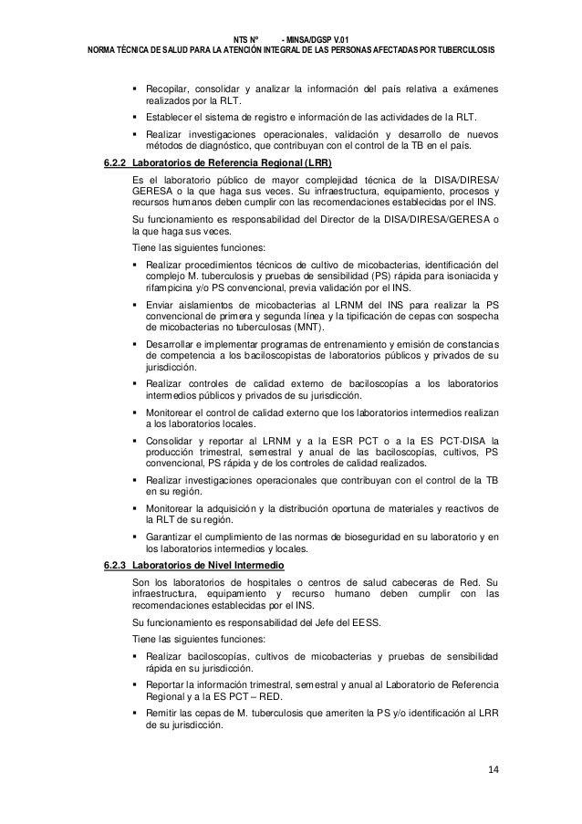 NTS Nº - MINSA/DGSP V.01 NORMA TÉCNICA DE SALUD PARA LA ATENCIÓN INTEGRAL DE LAS PERSONAS AFECTADAS POR TUBERCULOSIS   Re...