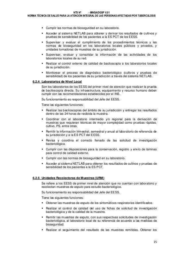 NTS Nº - MINSA/DGSP V.01 NORMA TÉCNICA DE SALUD PARA LA ATENCIÓN INTEGRAL DE LAS PERSONAS AFECTADAS POR TUBERCULOSIS   Cu...