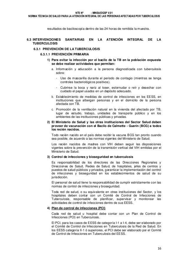 NTS Nº - MINSA/DGSP V.01 NORMA TÉCNICA DE SALUD PARA LA ATENCIÓN INTEGRAL DE LAS PERSONAS AFECTADAS POR TUBERCULOSIS  resu...