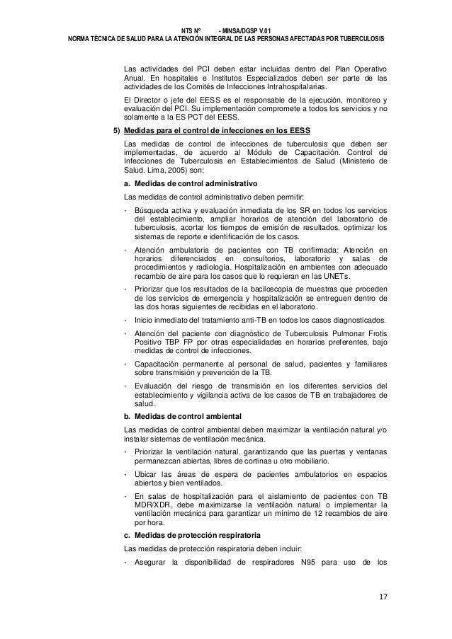 NTS Nº - MINSA/DGSP V.01 NORMA TÉCNICA DE SALUD PARA LA ATENCIÓN INTEGRAL DE LAS PERSONAS AFECTADAS POR TUBERCULOSIS  Las ...