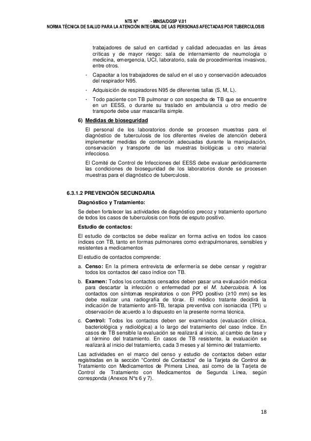 NTS Nº - MINSA/DGSP V.01 NORMA TÉCNICA DE SALUD PARA LA ATENCIÓN INTEGRAL DE LAS PERSONAS AFECTADAS POR TUBERCULOSIS  trab...