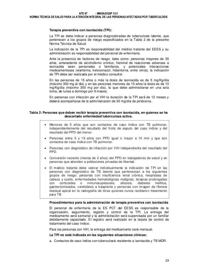 NTS Nº - MINSA/DGSP V.01 NORMA TÉCNICA DE SALUD PARA LA ATENCIÓN INTEGRAL DE LAS PERSONAS AFECTADAS POR TUBERCULOSIS  Tera...