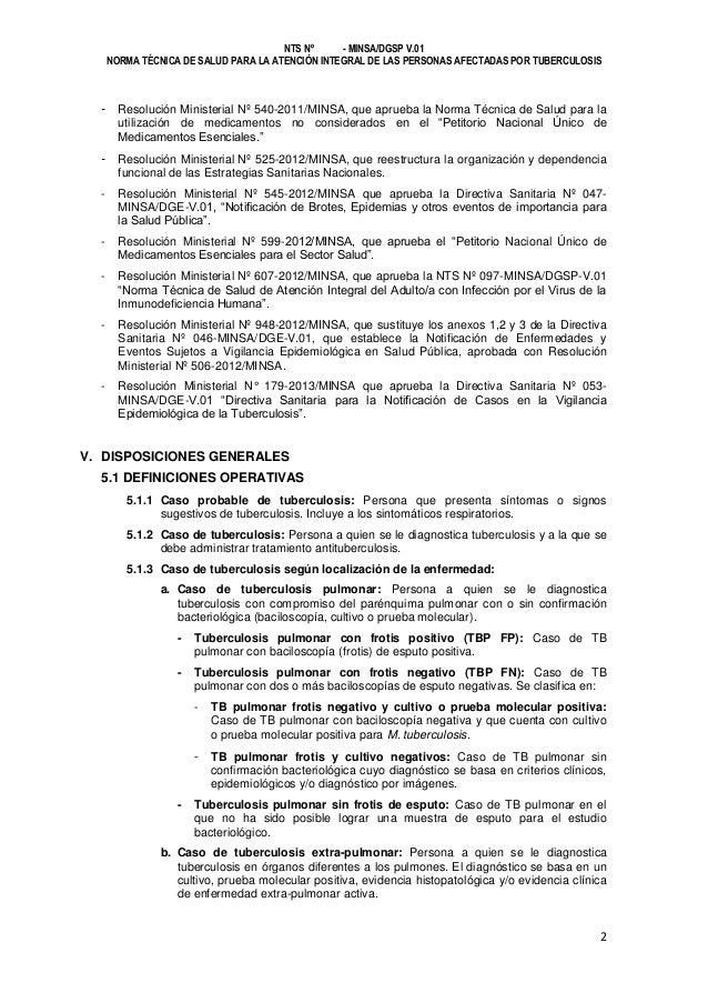 NTS Nº - MINSA/DGSP V.01 NORMA TÉCNICA DE SALUD PARA LA ATENCIÓN INTEGRAL DE LAS PERSONAS AFECTADAS POR TUBERCULOSIS  - Re...