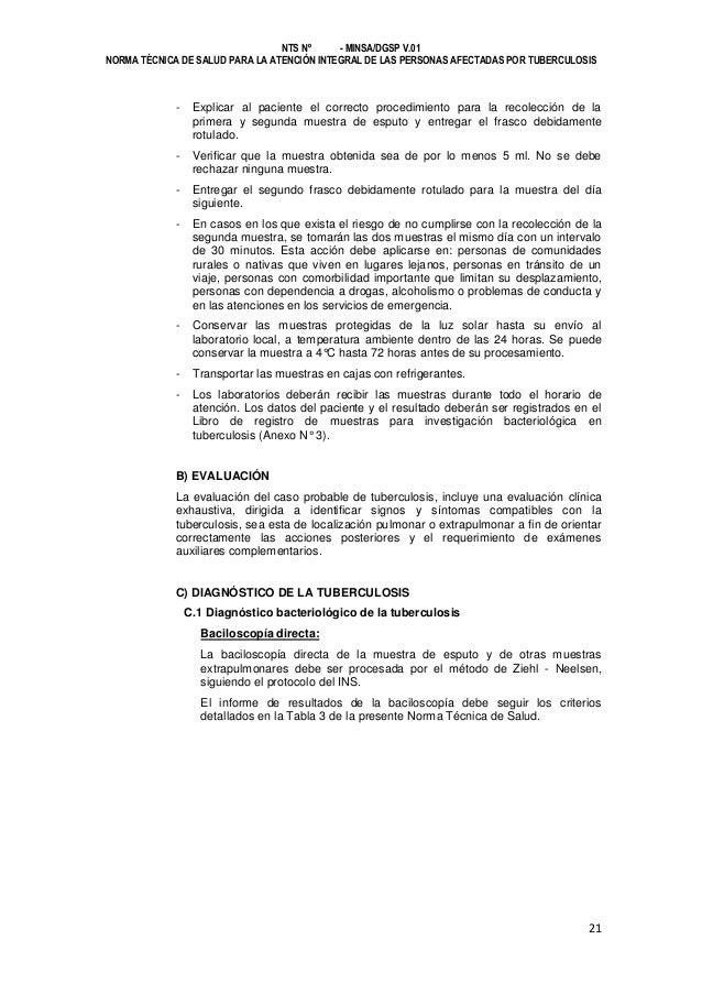 NTS Nº - MINSA/DGSP V.01 NORMA TÉCNICA DE SALUD PARA LA ATENCIÓN INTEGRAL DE LAS PERSONAS AFECTADAS POR TUBERCULOSIS  -  E...