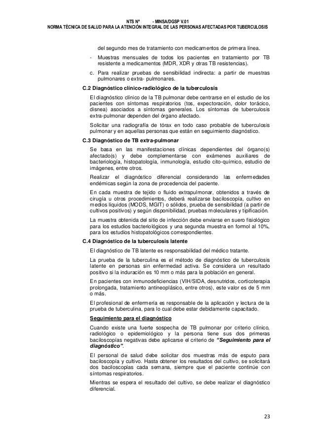 NTS Nº - MINSA/DGSP V.01 NORMA TÉCNICA DE SALUD PARA LA ATENCIÓN INTEGRAL DE LAS PERSONAS AFECTADAS POR TUBERCULOSIS  del ...