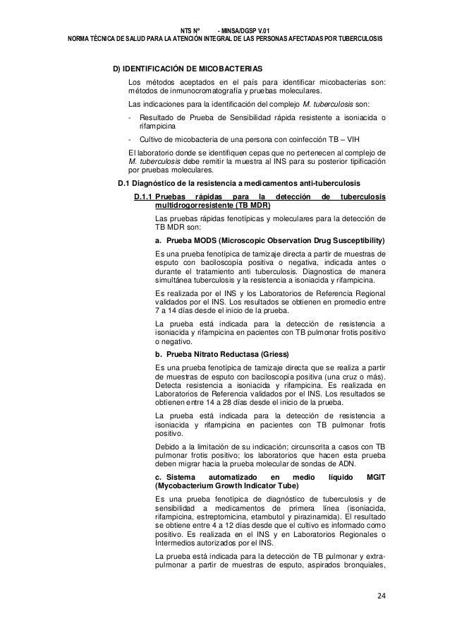 NTS Nº - MINSA/DGSP V.01 NORMA TÉCNICA DE SALUD PARA LA ATENCIÓN INTEGRAL DE LAS PERSONAS AFECTADAS POR TUBERCULOSIS  D) I...