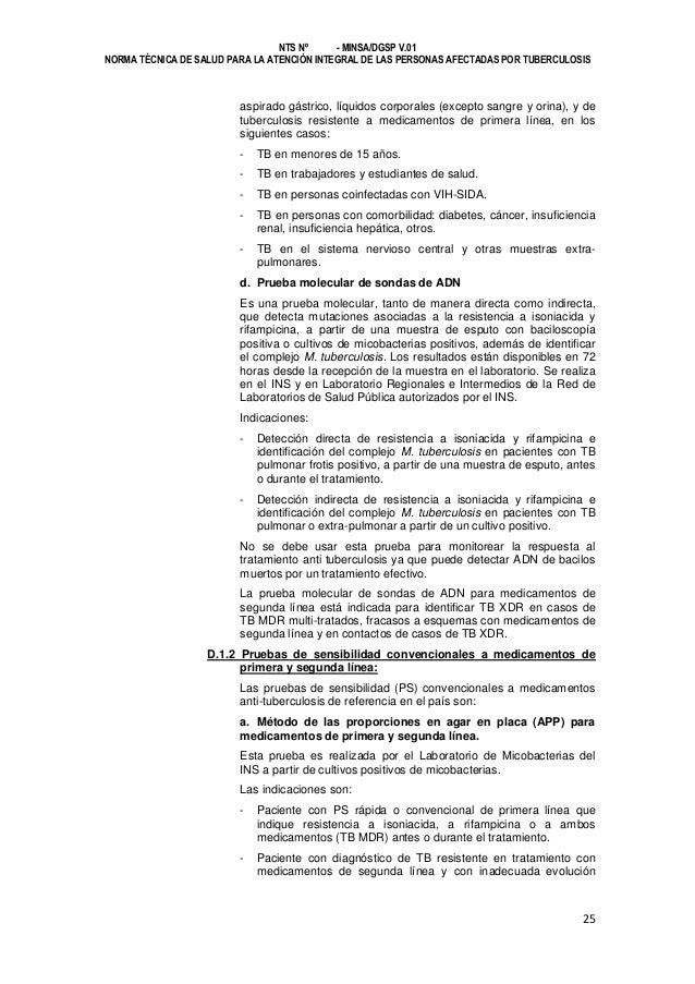 NTS Nº - MINSA/DGSP V.01 NORMA TÉCNICA DE SALUD PARA LA ATENCIÓN INTEGRAL DE LAS PERSONAS AFECTADAS POR TUBERCULOSIS  aspi...