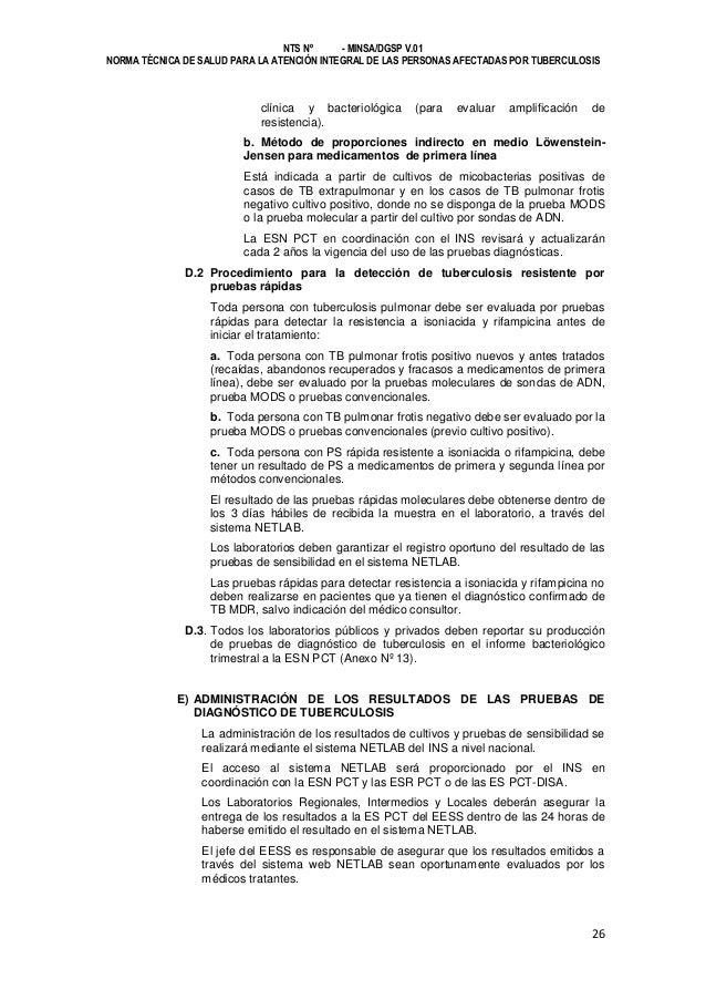 NTS Nº - MINSA/DGSP V.01 NORMA TÉCNICA DE SALUD PARA LA ATENCIÓN INTEGRAL DE LAS PERSONAS AFECTADAS POR TUBERCULOSIS  clín...