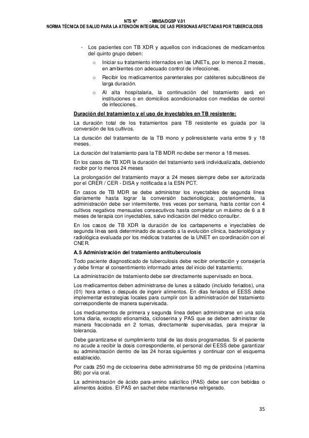 NTS Nº - MINSA/DGSP V.01 NORMA TÉCNICA DE SALUD PARA LA ATENCIÓN INTEGRAL DE LAS PERSONAS AFECTADAS POR TUBERCULOSIS  -  L...