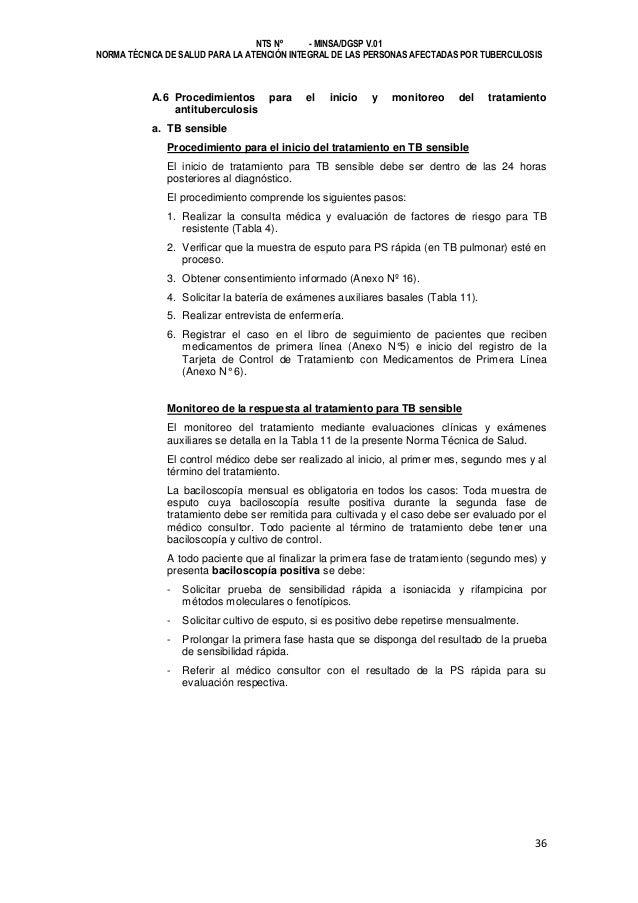 NTS Nº - MINSA/DGSP V.01 NORMA TÉCNICA DE SALUD PARA LA ATENCIÓN INTEGRAL DE LAS PERSONAS AFECTADAS POR TUBERCULOSIS  A.6 ...