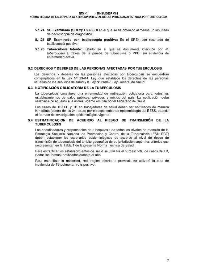 NTS Nº - MINSA/DGSP V.01 NORMA TÉCNICA DE SALUD PARA LA ATENCIÓN INTEGRAL DE LAS PERSONAS AFECTADAS POR TUBERCULOSIS  5.1....